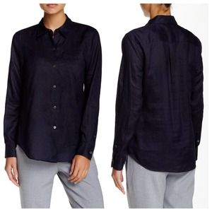 THEORY $195 NWT Sunny Light Navy Button Up Blouse